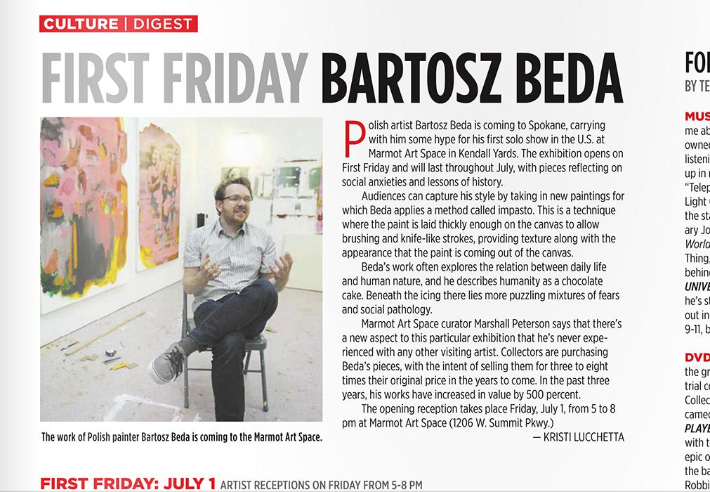 article, solo exhibition, bartosz beda, paintings 2016, polish artist